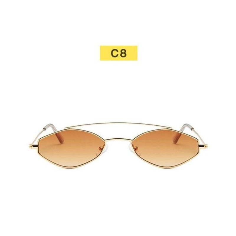 90's Oval Nose Resting Sunglasses-Ladies Sunglasses-C8-Gold-Product Detail: 90s Sunglasses Women Retro Oval Sunglasses Lady Brand Designer Vintage Sunglasses Girls Eyeglasses UV400 Frame Material: Alloy Lenses Material: Acrylic Dimensions: Lens Height: 30 mm Lens Width: 52 mm-Keyomi-Sook