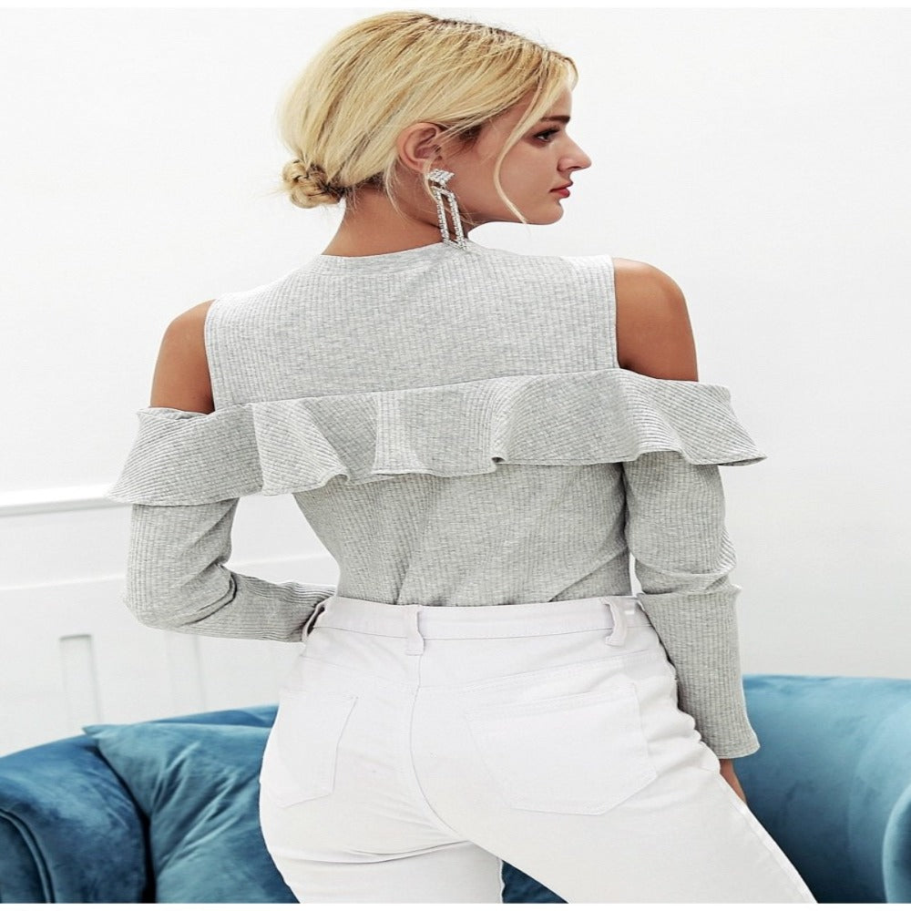 Women'S Cold Shoulder Ruffles Knitted Sweater-Sweaters & Sweatshirts-Product Details: Women's Cold Shoulder Ruffles Long Sleeve Knitted Pullover Winter Sweater Material: Cotton, Spandex Material Composition: 95% Cotton, 5% Spandex Style: Streetwear Technics: Computer Knitted Collar: O-Neck Sleeve Length (cm): Full Clothing Length: Regular Item Type: Pullovers Sleeve Style: Regular Decoration: Ruffles Pattern Type: Solid Size Chart:-Keyomi-Sook