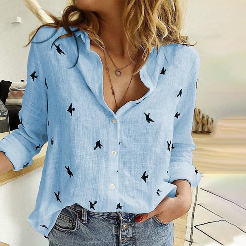 Women's Bird Print Long Sleeve Loose Shirt-Tops, Blouses, & Tees-Blue-S-Product Details: Women's Birds Print Long Sleeve Loose Plus Size Casual Shirt Material: Polyester-Keyomi-Sook