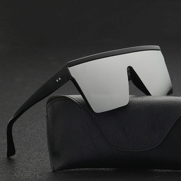 Unisex Flat Top Sunglasses-Men's Sunglasses-Product Details: Unisex Flat Top Sunglasses Men Brand Black Square Shades UV400 Gradient Sun Glasses For Unisex Cool One Piece Designer Lenses Optical Attribute: Mirror, UV400 Frame Material: Plastic Lenses Material: Polycarbonate Dimensions: Lens Height: 54 mm Lens Width: 60 mm-Keyomi-Sook