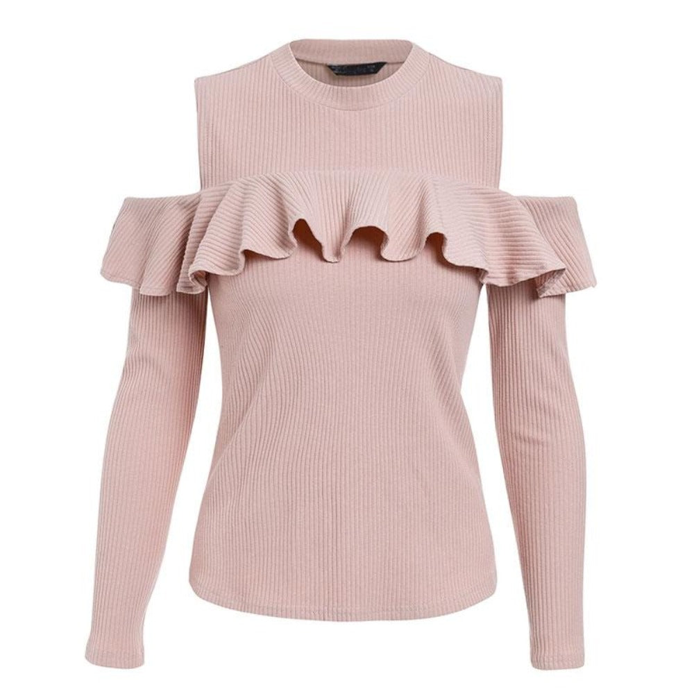 Women'S Cold Shoulder Ruffles Knitted Sweater-Sweaters & Sweatshirts-Pink-S-Product Details: Women's Cold Shoulder Ruffles Long Sleeve Knitted Pullover Winter Sweater Material: Cotton, Spandex Material Composition: 95% Cotton, 5% Spandex Style: Streetwear Technics: Computer Knitted Collar: O-Neck Sleeve Length (cm): Full Clothing Length: Regular Item Type: Pullovers Sleeve Style: Regular Decoration: Ruffles Pattern Type: Solid Size Chart:-Keyomi-Sook