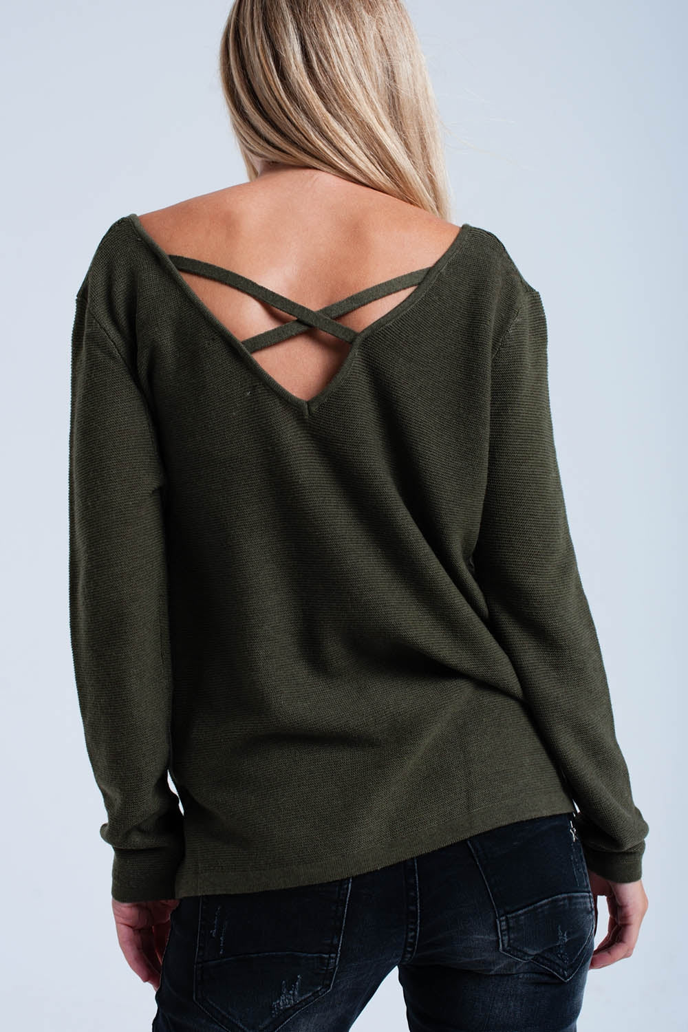 Khaki Ribbed Sweater-Women - Apparel - Sweaters - Pull Over-Product Details Khaki ribbed sweater with a V neck and cross back detail to the neck. It has long sleeves and side slits to the hem. Soft woven.-Keyomi-Sook