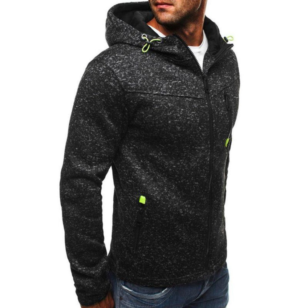 Men's Zipper Solid Loose Hoodie Sweatshirt-Men's Athletic Wear-Product Details: Men's Zipper Solid Long Sleeve Loose Hoodie Sweatshirt Closure Type: Zipper Collar: Hooded Material: Polyester Type: Loose Pattern Type: Camouflage Size Chart:-Keyomi-Sook