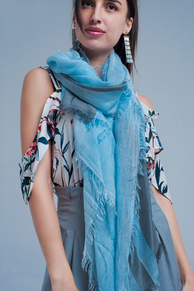 Striped Scarf In Grey-Women - Accessories - Scarves-Product Details Light scarf made from soft modal This scarf is grey and has blue stripes Made in Italy-Keyomi-Sook