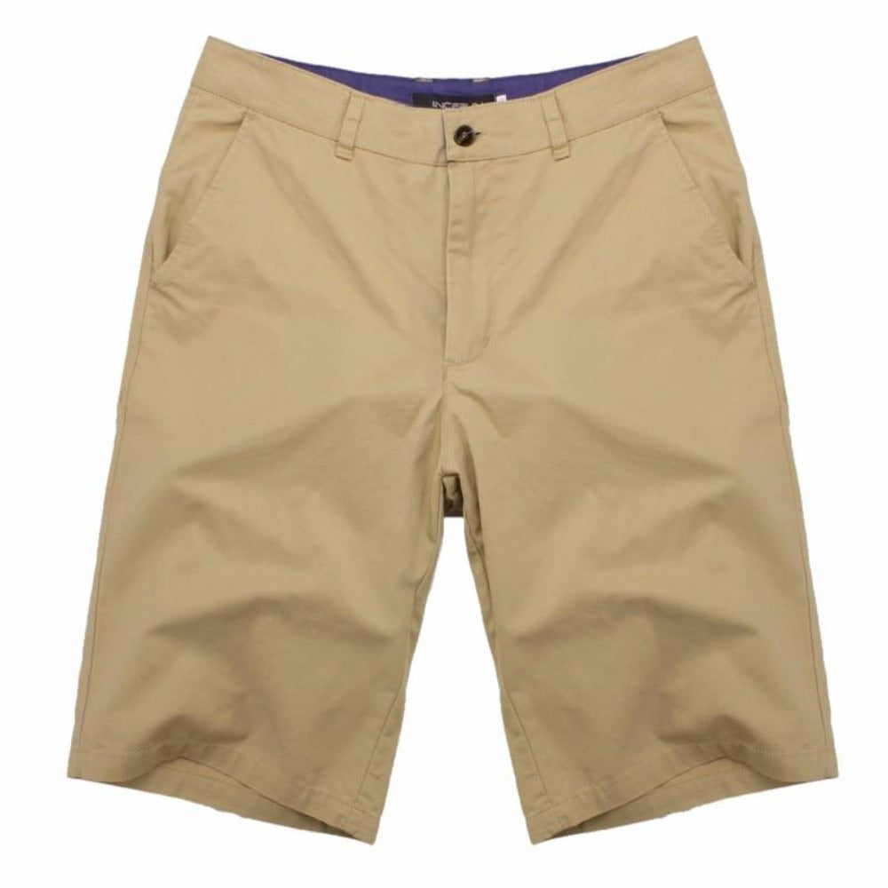 Men's Cotton Knee Length Summer Shorts-Mens Pants and Shorts-Khaki-30-Product Details: Men's Cotton Knee Length Vintage Casual Summer Shorts Item Type: Shorts Style: Casual Material: Polyester, Cotton Waist Type: Mid Closure Type: Zipper Fly Fit Type: Straight Length: Knee Length Pant Style: Regular Pattern Type: Solid Color: Red, Navy, Khaki, Beige, Grey, Black, Army Green Package Include: 1 * Shorts Size Chart:-Keyomi-Sook
