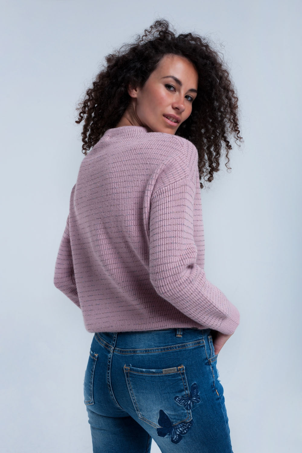 Pink Ribbed Sweater-Women - Apparel - Sweaters - Pull Over-Product Details Ribbed pink sweater with multicolor shiny thread striped. It has a crew neck and long sleeves. Soft woven fabric. Regular fit.-Keyomi-Sook