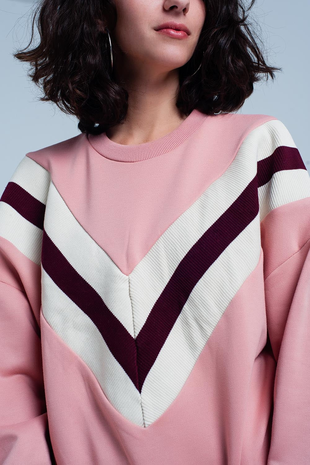 Pink Sweatshirt With Striped V-Pattern-Women - Apparel - Sweaters - Pull Over-Product Details Pink sweatshirt of very confortable and strong polyester and cotton composition with a round crew neck and long sleeves. The front of the sweater is decorated with a cream and maroon striped V pattern.-Keyomi-Sook