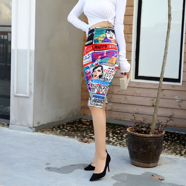 Cartoon High Waist Skirt-Skirts-Product Detail: Women's Pencil Skirt Cartoon Mouse Print High Waist Slim Skirts Women Young Girl Summer Female Falda Material: Cotton, Polyester, Spandex Silhouette: Pencil Pattern Type: Floral Dresses Length: Above Knee, Mini Size Chart:-Keyomi-Sook