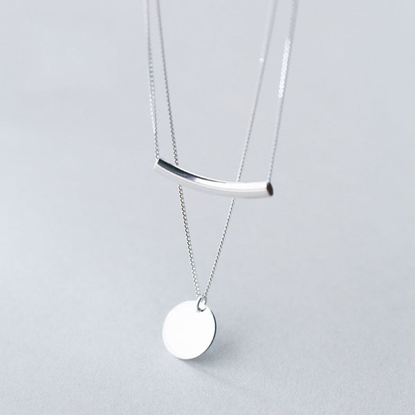Silver Coin Bar Pendant Layered Choker-Ladies Necklaces-Keyomi-Sook