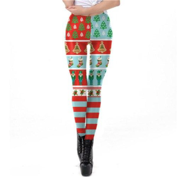 Women'S Stripe Tribal Christmas Leggings-Women - Apparel - Activewear - Leggings-S-Product Details: Women's Stripe Tribal Plus Size Christmas Leggings Material: Polyester, Spandex Size Chart:-Keyomi-Sook