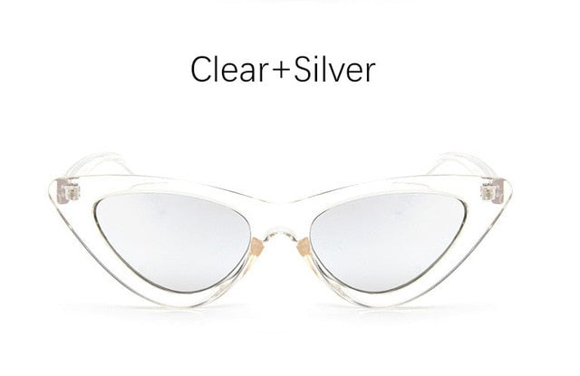 Retro Cat Eye Sunglasses-Ladies Sunglasses-Clear Silver-Product Detail: cat eye shade for women fashion sunglasses brand woman vintage retro triangular cat-eye glasses sunglasses Sexy Frame Material: Poly-carbonate Style: Cat Eye Lenses Optical Attribute: UV400, Photo chromic Dimensions: Lens Width: 52 mm Lens Height: 45 mm-Keyomi-Sook
