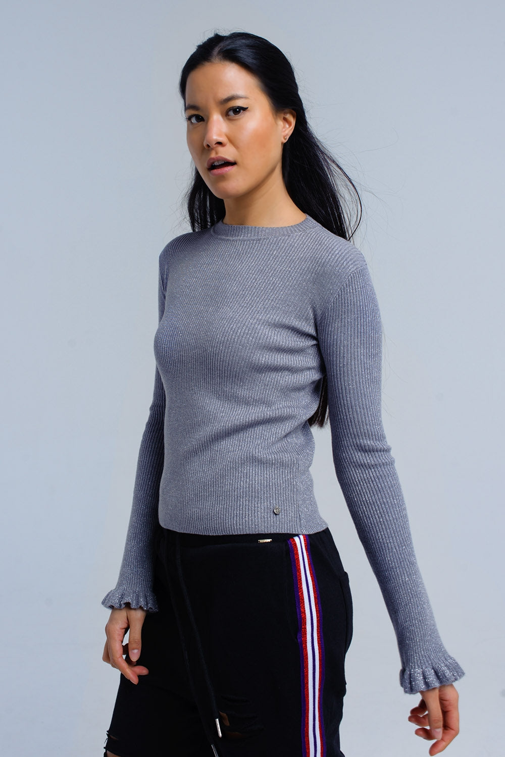 Silver Ribbed Sweater With Ruffle-Women - Apparel - Sweaters - Pull Over-Product Details Silver sweater in ribbed woven fabric. It has a crew neck, a round hem and long sleeves with ruffle details on the edge.-Keyomi-Sook