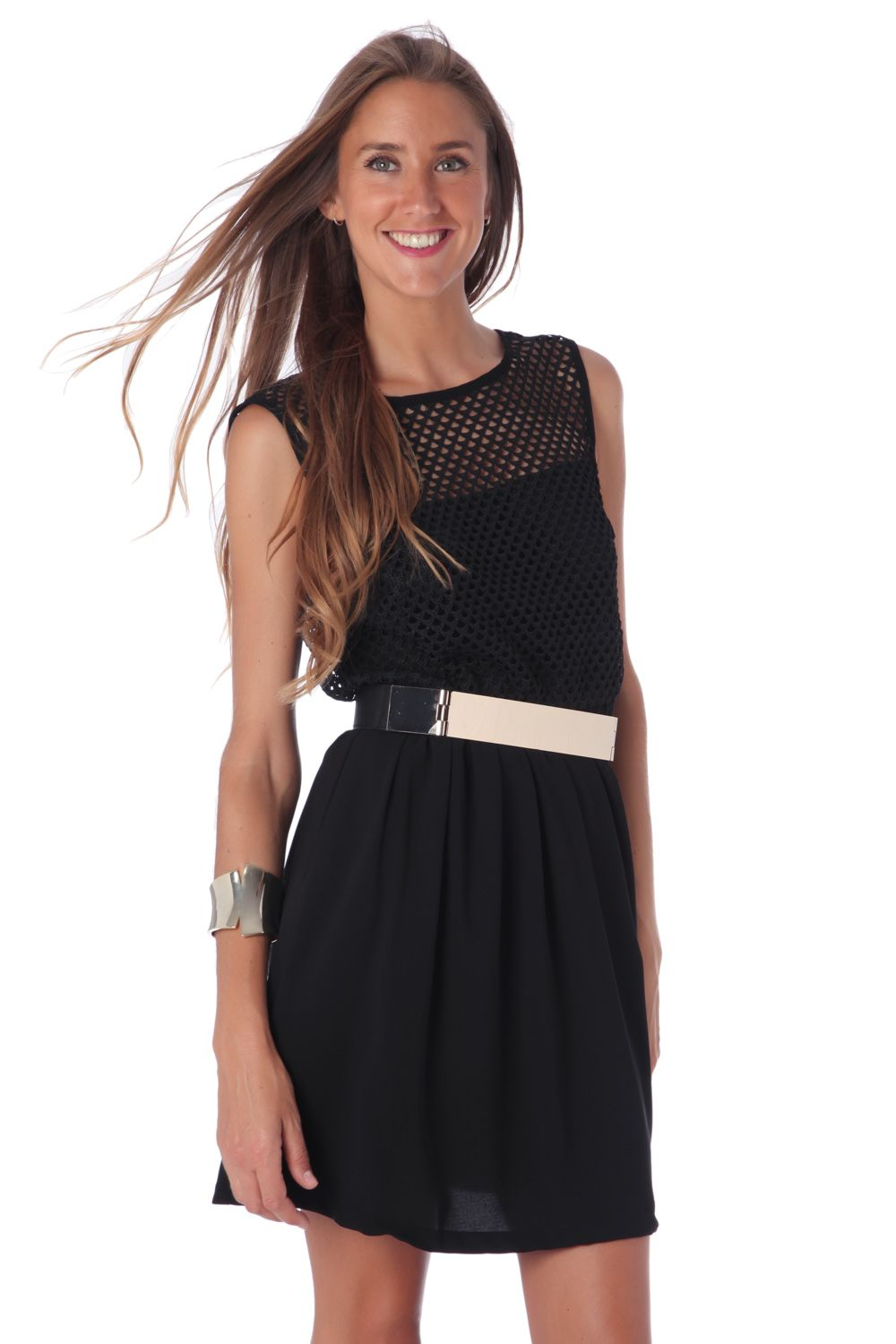 Black Skater Dress With Crochet Inserts-Women - Apparel - Dresses - Day to Night-L-Keyomi-Sook