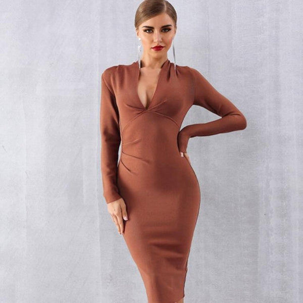 Women's Deep V-neck Long Sleeve Midi Dress-BodyCon Dresses-Khaki-S-Product Details: Women's Deep V-neck Long Sleeve Bandage Bodycon Midi Club Dress Material: Polyester, Spandex Silhouette: Sheath Material: 97% Polyester, 3% Spandex Decoration: Draped, Zipper Size Chart:-Keyomi-Sook