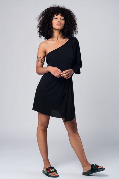 One Shoulder Black Dress-Women - Apparel - Dresses - Day to Night-L-Keyomi-Sook