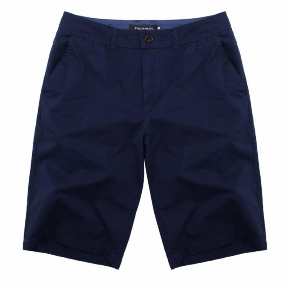 Men's Cotton Knee Length Summer Shorts-Mens Pants and Shorts-Navy-30-Product Details: Men's Cotton Knee Length Vintage Casual Summer Shorts Item Type: Shorts Style: Casual Material: Polyester, Cotton Waist Type: Mid Closure Type: Zipper Fly Fit Type: Straight Length: Knee Length Pant Style: Regular Pattern Type: Solid Color: Red, Navy, Khaki, Beige, Grey, Black, Army Green Package Include: 1 * Shorts Size Chart:-Keyomi-Sook