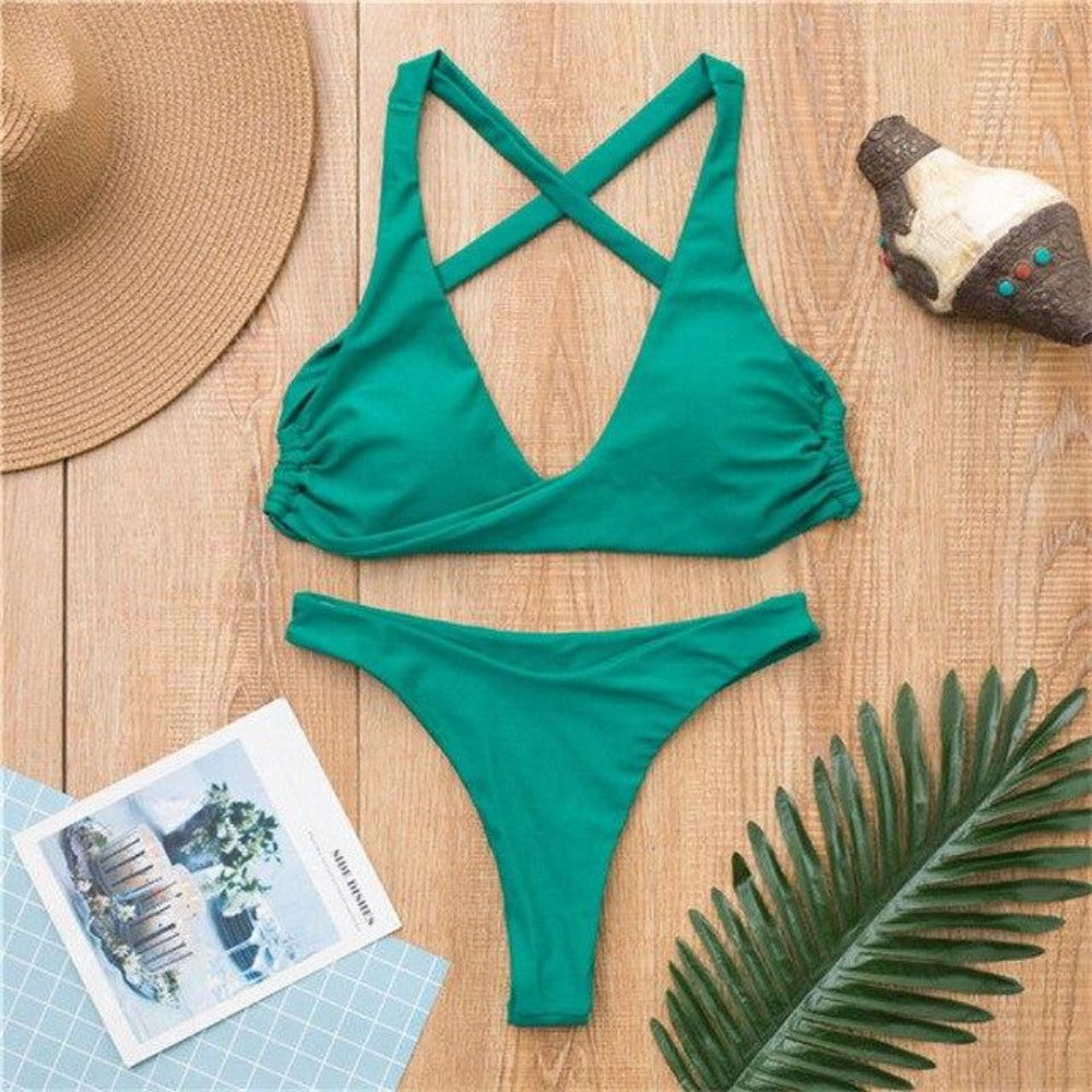 Women'S Front Knot Push Up Swimsuit-Ladies Swimwear-Green-S-Product Details: Women's Front Knot Push Up Bikini Swimsuit Set Item Type: Bikinis Set Waist: Low Waist Support Type: Wire Free With Pad: Yes Pattern Type: Solid Material: Polyester-Keyomi-Sook