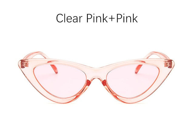 Retro Cat Eye Sunglasses-Ladies Sunglasses-Clear Pink Pink-Product Detail: cat eye shade for women fashion sunglasses brand woman vintage retro triangular cat-eye glasses sunglasses Sexy Frame Material: Poly-carbonate Style: Cat Eye Lenses Optical Attribute: UV400, Photo chromic Dimensions: Lens Width: 52 mm Lens Height: 45 mm-Keyomi-Sook