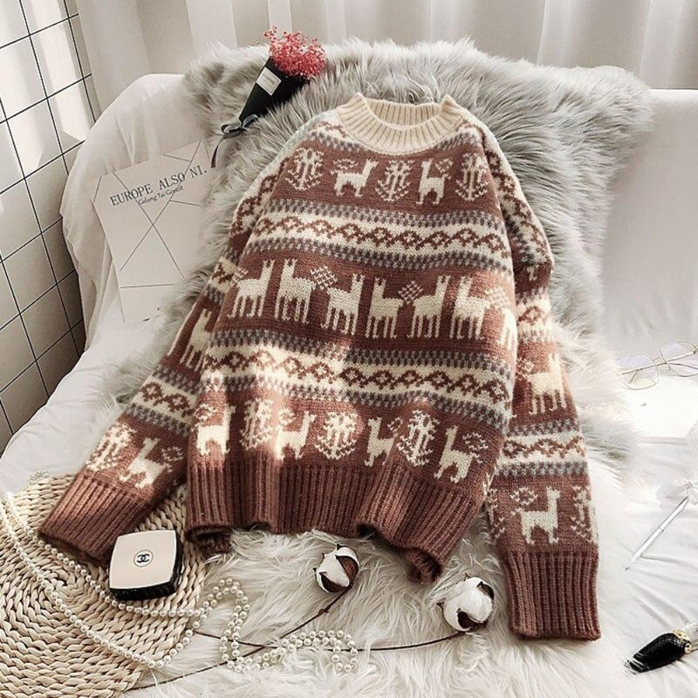 Women's O-Neck Wild Loose Christmas Sweater-Sweaters & Sweatshirts-Khaki-One Size-Product Details: Women's O-neck Full Warm Wild Pullover Loose Christmas Sweater Dimensions: Shoulder: 58 cm Bust: 107 cm Length: 53 cm Sleeve: 41 cm-Keyomi-Sook