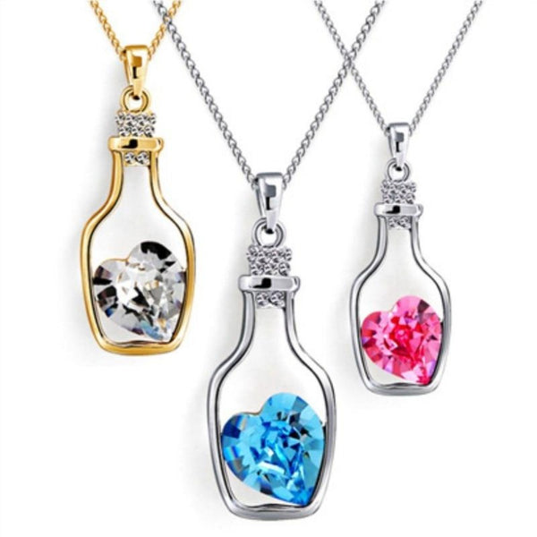 Crystal Heart Bottle Pendant Necklace-Pink-Keyomi-Sook