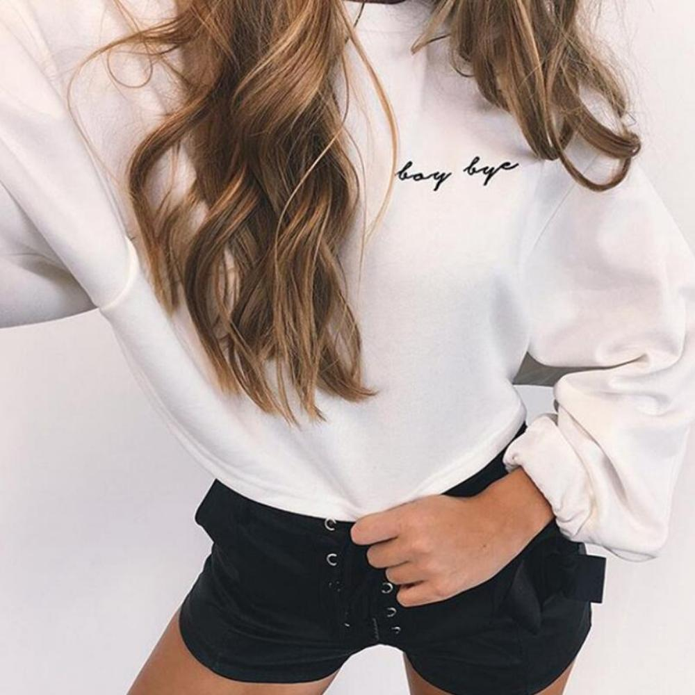 Women'S Letters Embroidery Crop Top Sweatshirt-Sweaters & Sweatshirts-White-S-Product Details: Women's Letters Embroidery Long Sleeve Crop Top Sweatshirt Material: Polyester, Spandex, Cotton Style: Casual Fabric Type: Knitted Sleeve Length (cm): Full Clothing Length: Regular Pattern Type: Letter Type: Pullovers Sleeve Style: Regular Collar: O-Neck Item Type: Hoodies, Sweatshirts Weight: 300 Size Chart:-Keyomi-Sook