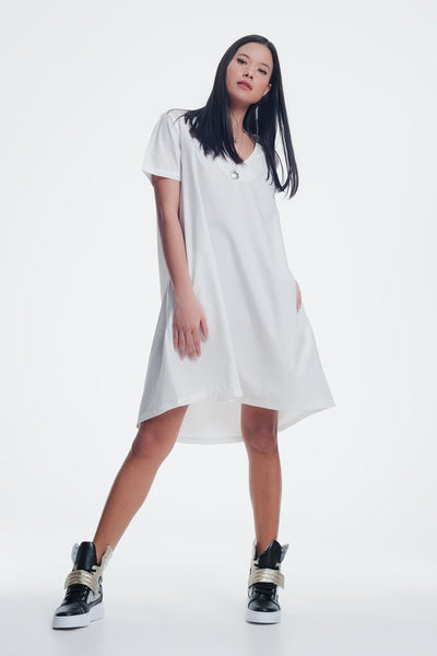 Poplin Cream Shiny Dress With v Neck-Women - Apparel - Dresses - Casual-Large-Keyomi-Sook