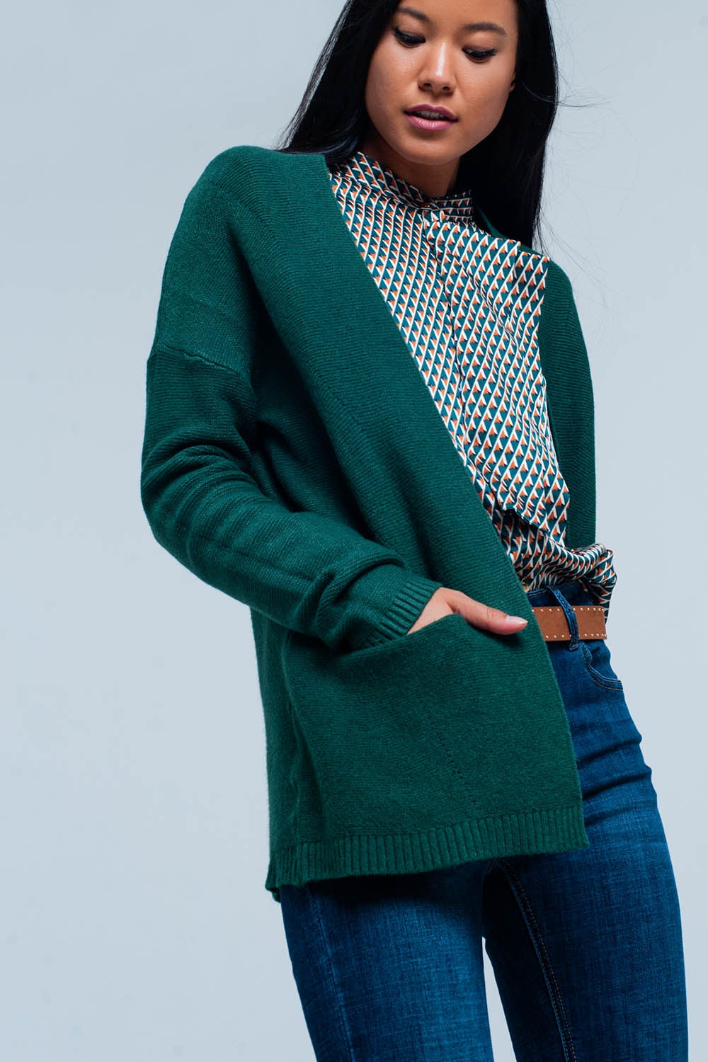 Green Cardigan With Pockets-Women - Apparel - Sweaters - Cardigans-Product Details Green cardigan with handy pockets on the side. The model of the cardigan falls very advantageous with your figure which makes it elegant and combinable with many clothes.-Keyomi-Sook
