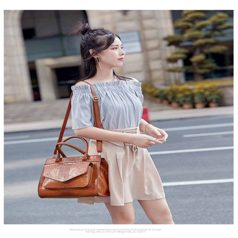 Women'S Brown Letter Printing Handbag-Ladies Handbag(s)-Product Details: Women's Brown Letter Printing Monogram Big Handbag Main Material: PU Futter-Material: Polyester Dimensions:-Keyomi-Sook
