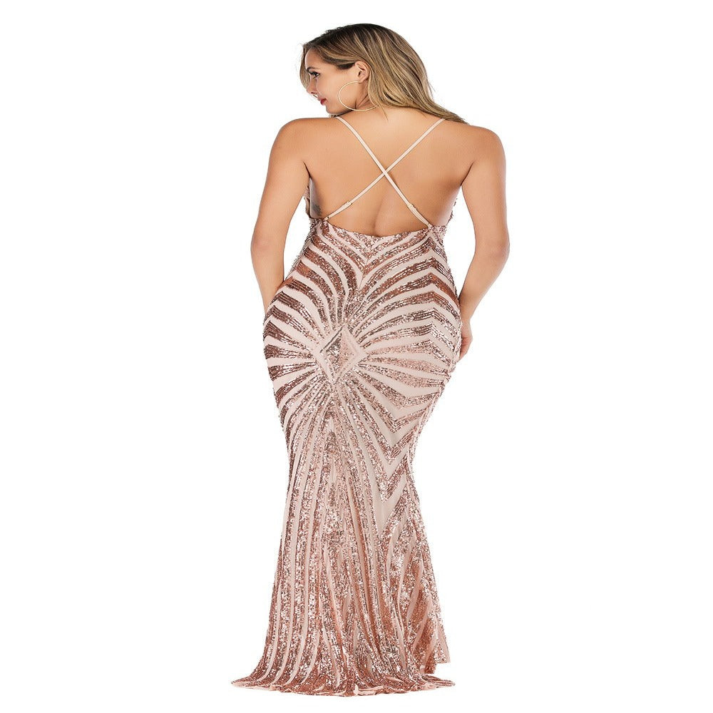 Women'S Backless Sequin Bodycon Mermaid Dress-Women - Apparel - Dresses - Maxi-Product Details: Women's Deep V-neck Backless Sequin Bodycon Mermaid Maxi Dress Material: Polyester, Spandex Style: Sexy & Club Silhouette: Trumpet, Mermaid Pattern Type: Solid Sleeve Length (cm): Short Decoration: Sequined Dresses Length: Floor-Length Sleeve Style: Spaghetti Strap Waistline: Empire Neckline: V-Neck Size Chart:-Keyomi-Sook