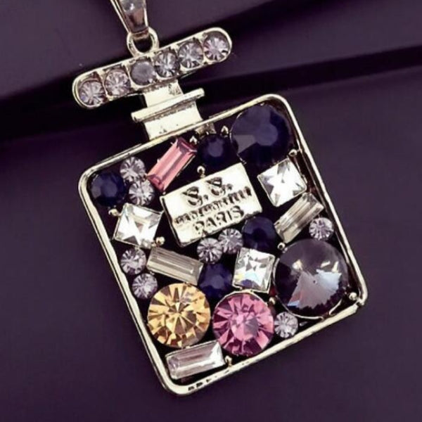 Rhinestone Perfume Bottle Pendant Necklace-1-Keyomi-Sook