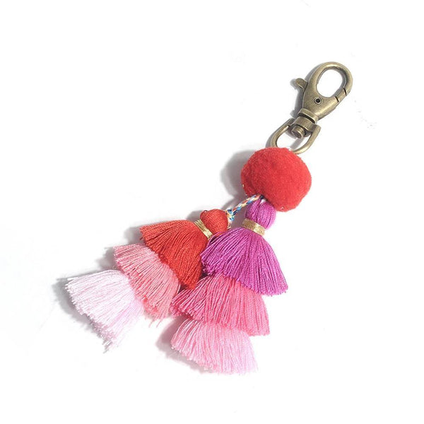 Bohemian Pom Pom Tassel Bag Chain-Gifts-Red-Keyomi-Sook