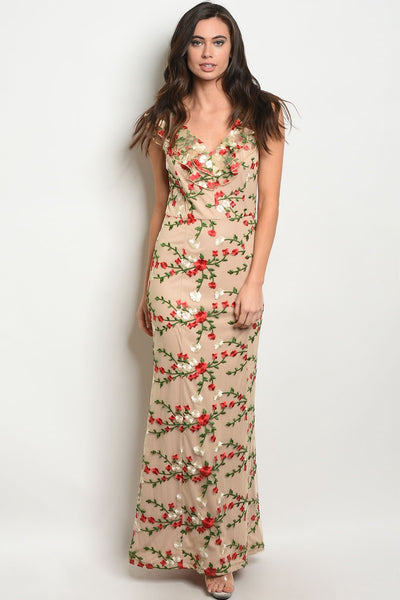 "Womens Flower Embroidery Dress-Women - Apparel - Dresses - Day to Night-Product Details Sleeveless V-neck all over floral embroidery maxi gown. Country: CHINAFabric Content: 100% POLYESTERSize Scale: S-M-LDescription: L: 57"" B: 32"" W: 28""-Keyomi-Sook"