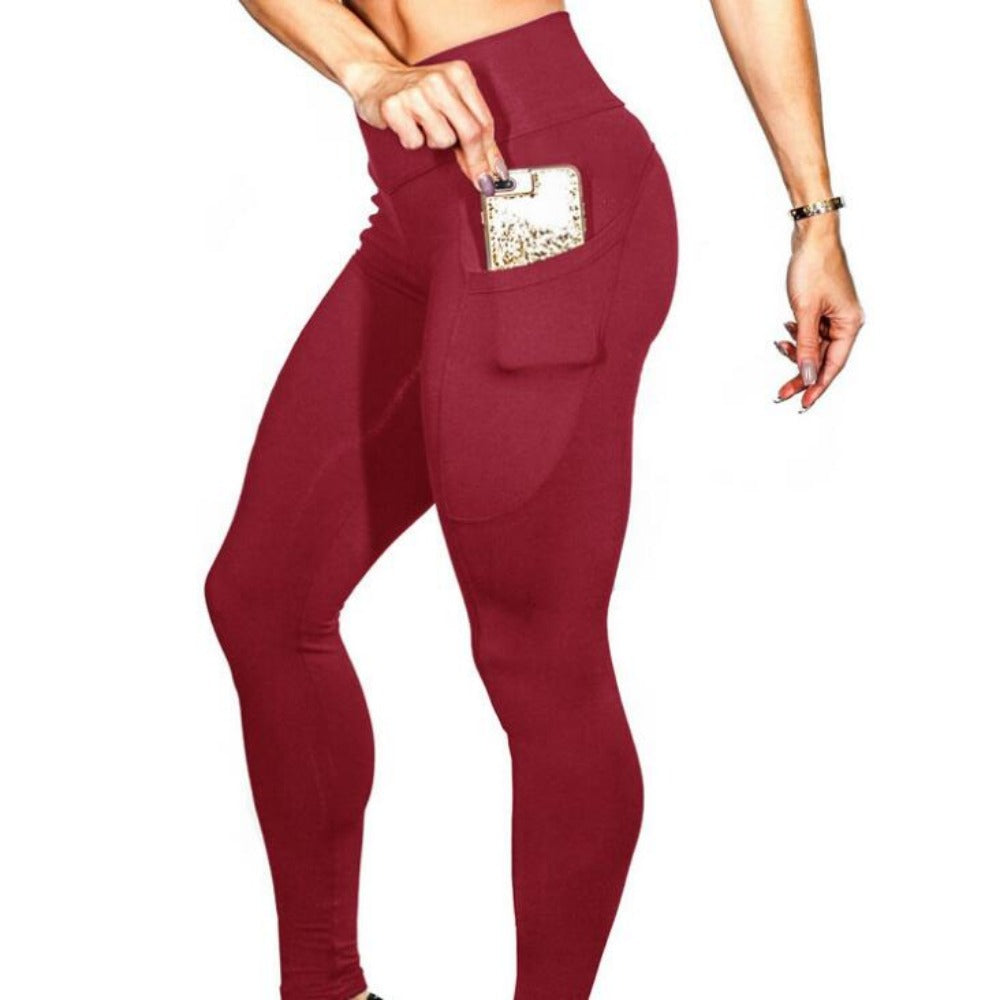 Women'S High Waist Phone Pocket Leggings-Women - Apparel - Activewear - Leggings-Red-S-Product Details: Women's Elastic High Waist Phone Pocket Push Up Fitness Leggings Size Chart:-Keyomi-Sook