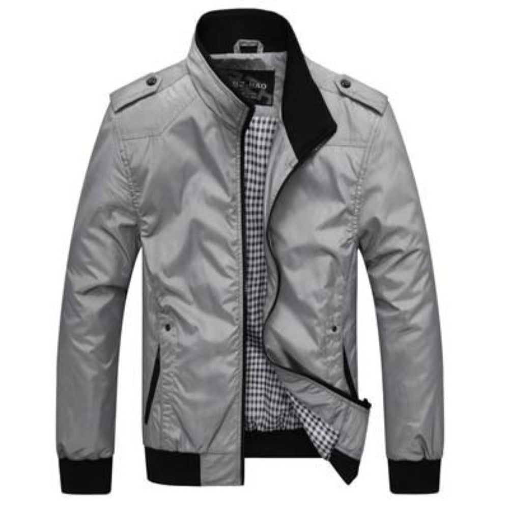 Men's Stand Collar Slim Jacket-Men's Jackets-Grey-M-Product Details: Men's Stand Collar Slim Casual Bomber Jackets Collar: Stand Lining Material: Polyester Material: Polyester Cuff Style: Conventional Decoration: Pockets Closure Type: Zipper Size Chart:-Keyomi-Sook