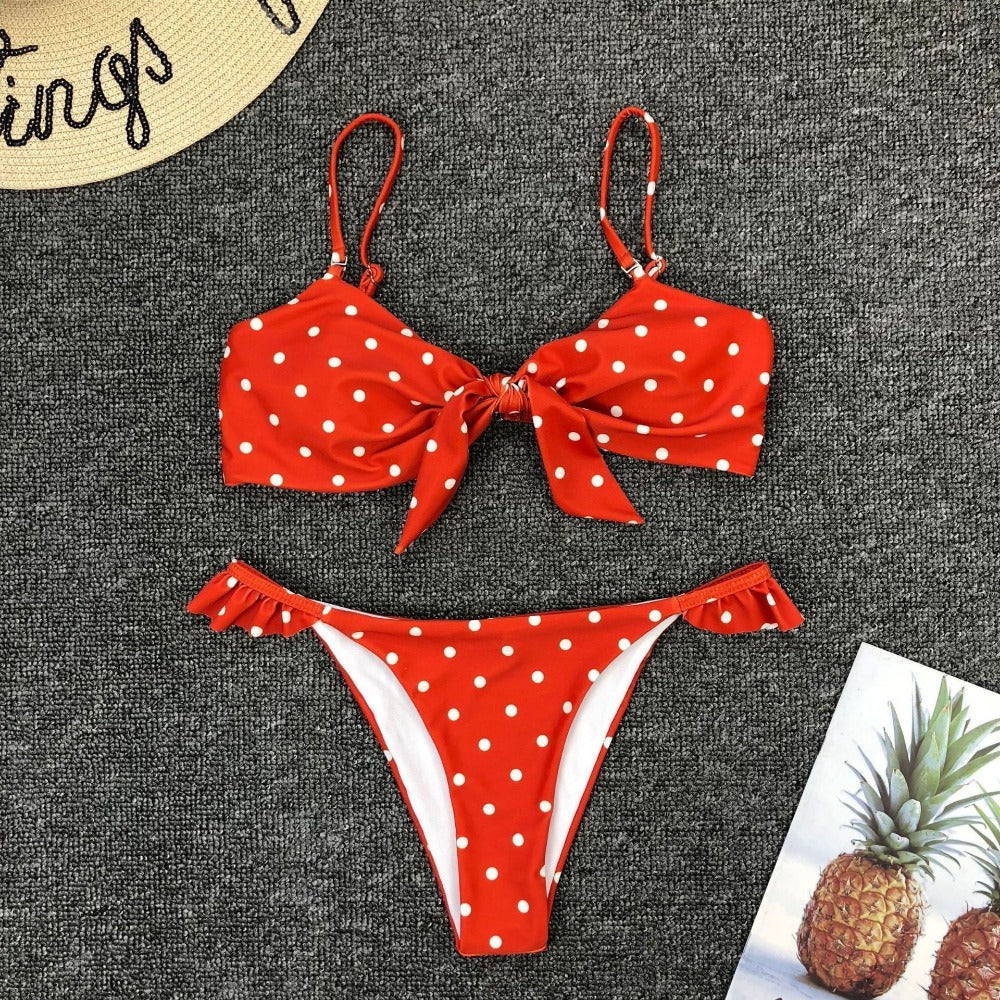 Women'S Dot Print Bow Push Up Bra Bikini-Ladies Swimwear-Product Details: Women's Dot Print Bow Push Up Bra One Piece Bikini Material: Polyester Support Type: Wire Free With Pad: Yes Waist: Low Waist Season: Summer Occasion: Daily, Swimming Pool, Sea Clothing Length: Regular Pattern Type: Print Sleeve Style: Regular Style: Sexy, Casual Package include: 1 x Set Swimwear (Containing Chest Pad) Size Chart:-Keyomi-Sook