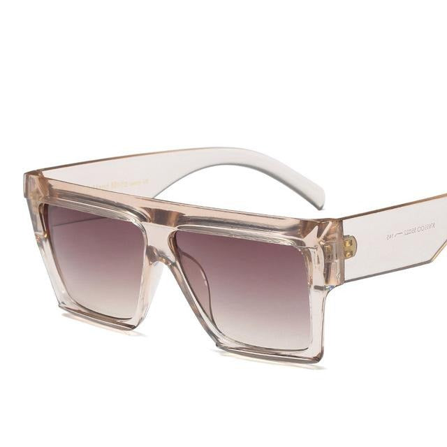 Flat Top Big Frame Luxury Sunglasses-Ladies Sunglasses-D653 C5 clear tea-Product Detail: Unisex Star Style Brand Designer Sunglasses Women Vintage Luxury Flat Top Full Frame Sun glasses For Female Shades UV400 Lenses Optical Attribute: Gradient, UV400 Lenses Material: Resin Dimension: Lens Width: 70 mm Lens Height: 46 mm-Keyomi-Sook
