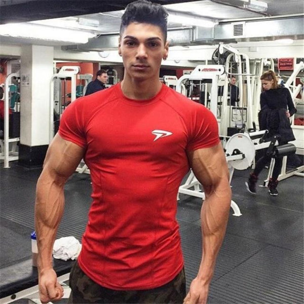 Men's Quick Dry Fit Muscle Sport T-shirt-Men's Athletic Wear-red-M-Product Details: Men's Elastic Quick Dry Fit Muscle Sport T-shirt Material: Polyester Collar: O-Neck Size Chart:-Keyomi-Sook