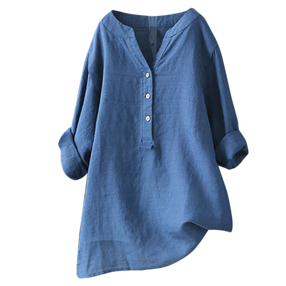 Women's Linen Cotton Long Sleeve Loose Shirt-Blue-S-Product Details: Women's Linen Cotton Long Sleeve Buttons Loose Casual Shirt Season: Summer Occasion: Daily, Casual Material: Cotton Linen Pattern Type: Solid Style: Casual Sleeve Length: Long Sleeve Collar: V-neck Thickness: Standard Size Chart:-Keyomi-Sook