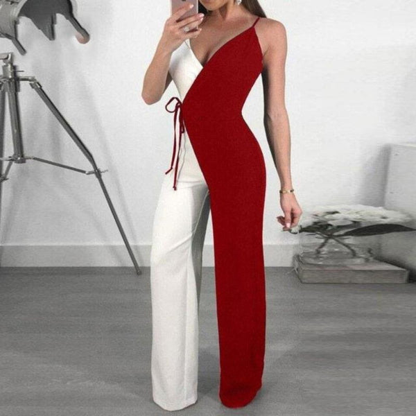 Spagetti Strap Two Tone Wide Leg Jumpsuit-Rompers, Jumpers & Sets-Burgundy-S-Keyomi-Sook