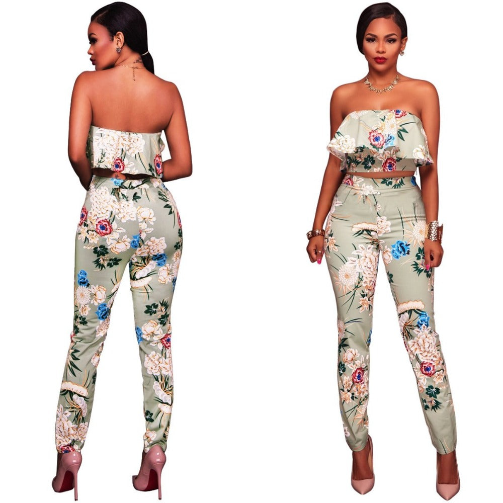 Ruffles Crop Top And Pants Floral Set-Rompers, Jumpers & Sets-Light Green-S-Product Details: Summer Women Clothes Flower two piece set Print off shoulder crop top Ruffles cropped Tops Pants Pattern suit Material: polyester Size Chart:-Keyomi-Sook