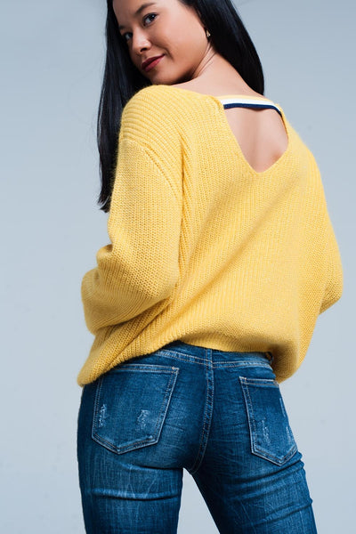 Mustard Sweater With Open Back Detail-Women - Apparel - Sweaters - Pull Over-L-Keyomi-Sook
