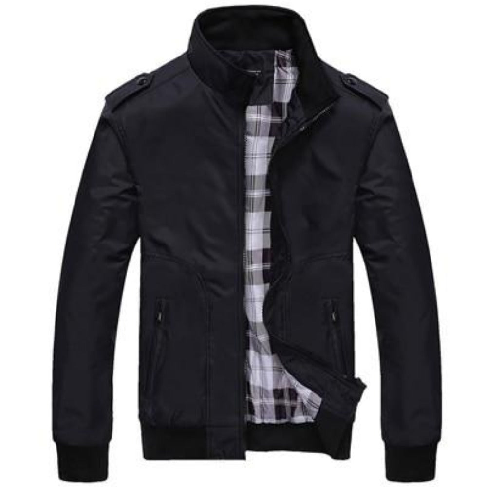 Men's Stand Collar Slim Jacket-Men's Jackets-Black-M-Product Details: Men's Stand Collar Slim Casual Bomber Jackets Collar: Stand Lining Material: Polyester Material: Polyester Cuff Style: Conventional Decoration: Pockets Closure Type: Zipper Size Chart:-Keyomi-Sook