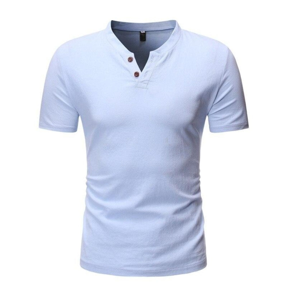 Men's Short Sleeve 2 Button Collarless Henley Shirt-Men's Shirt-blue-M-Product Details: Men's Button Down Short Sleeve Slim Fit Henley Casual Dress Shirt Item Type: Shirts Shirts Type: Casual Shirts Material: Linen, Spandex Sleeve Length (cm): Short Collar: Mandarin Style :Casual Fabric Type: Broadcloth Sleeve Style: Regular Pattern Type: Solid Closure Type: Single Breasted Size Chart:-Keyomi-Sook