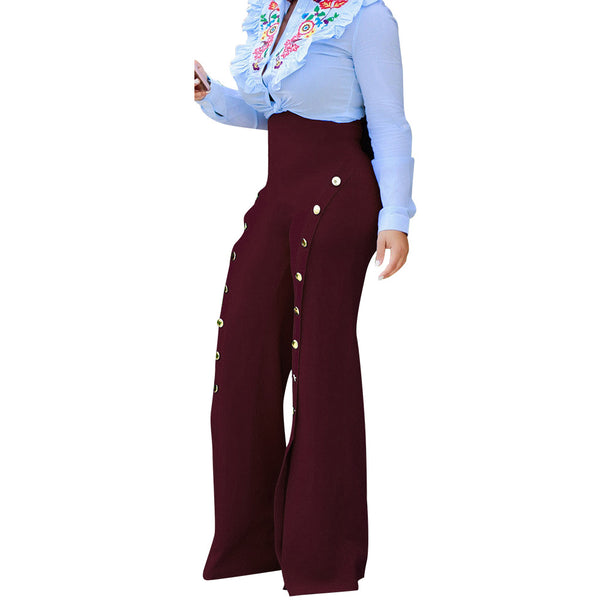 Women'S High Waist Wide Leg Trousers-Women - Apparel - Pants - Wide Leg-Red wine-M-Product Details: Women's High Waist Wide Leg Button Casual Trousers Size Chart:-Keyomi-Sook