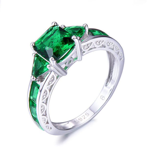 CZ Emerald Green Birthstone Ring-Ladies Rings-5-Keyomi-Sook
