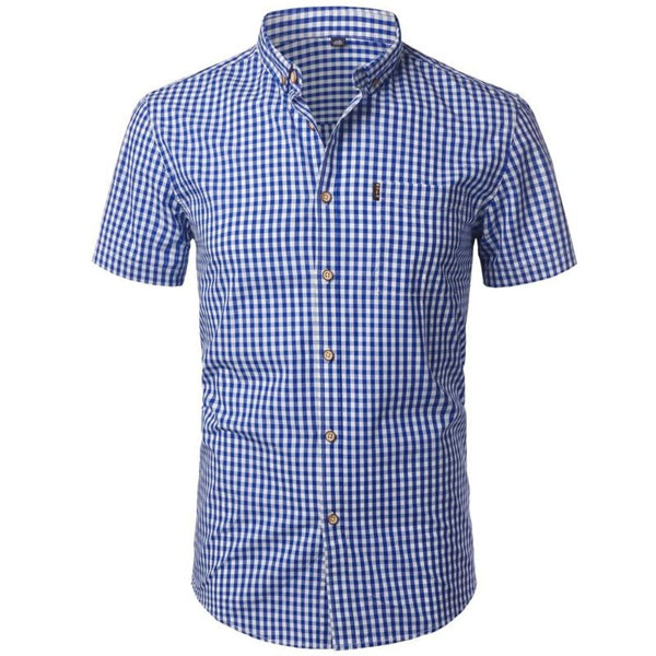 Men's Gingham Button-Down Short Sleeve Shirt-Men's Casual-Blue-M-Product Details: Men's Plaid, Checkered Style Button Down Short Sleeve Casual Shirt Item Type: Shirts Shirts Type: Casual Shirts Material: Polyester, Cotton Sleeve Length (cm): Short Collar: Square Fabric Type: Broadcloth Sleeve Style: Regular Pattern Type: Plaid Closure Type: Single Breasted Size Chart:-Keyomi-Sook