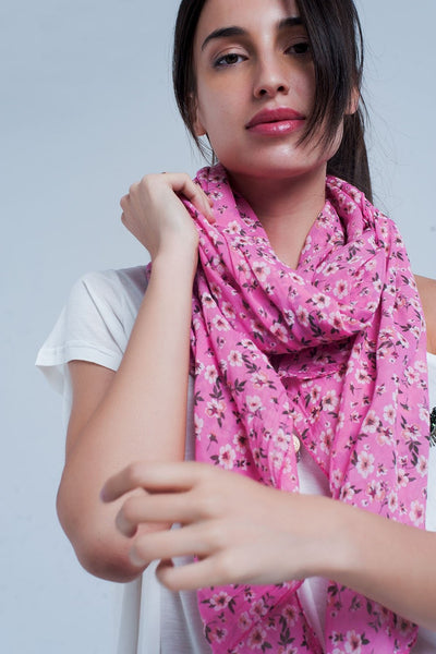 Pink Scarf With Floral Print-Women - Accessories - Scarves-Keyomi-Sook