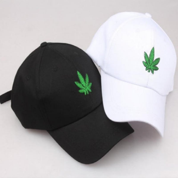 Men & Women's Embroidery Maple Leaf Hat-Men's Hats-Product Details: Men & Women's Embroidery Maple Leaf Adjustable Strapback Hat Gender: Unisex Strap Type: Adjustable Material: Cotton, Polyester Style: Casual Color: White, Black-Keyomi-Sook