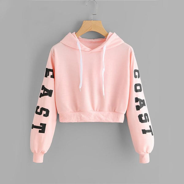 Crop Top Drawstring Sweatshirt-Sweaters & Sweatshirts-Product Detail: Pink Cropped Hoodies Drawstring Casual Women Letters Print Long Sleeve Hooded Sweatshirt Autumn Graphic Sweet Hoodies Material: Polyester Fabric Type: Broadcloth Clothing Length: Short Collar: O-Neck Size Chart: Size Shoulder (cm) Bust (cm) Bicept Length(cm) Length (cm) Sleeve Length (cm) XS - - - - - S 45 90-100 - 43 54 M 46 94-104 - 44 55 L 47 98-108 - 45 56 XL 48 102-112 - 46 57 ONE SIZE - - - - -Keyomi-Sook