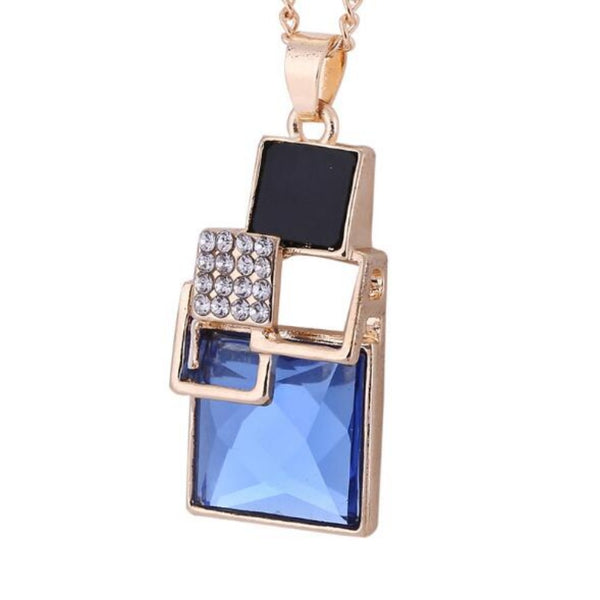 Women's Square Stud Jewelry Sets-Jewelry Sets-Blue-1 necklace-Product Detail: Women's Square Geometry Stud Jewelry Sets Color: Silver + Blue, Gold + Blue, Silver + Champagne, Gold + Champagne, Silver + Black, Gold + Black Earring Weight: 12 g Pendant Weight: 13 g Dimension: Earring Length: 3 cm Earring Width: 2 cm Pendant Length: 3.5 cm Pendant Width: 1.4 cm Chain Length: 45 cm-Keyomi-Sook